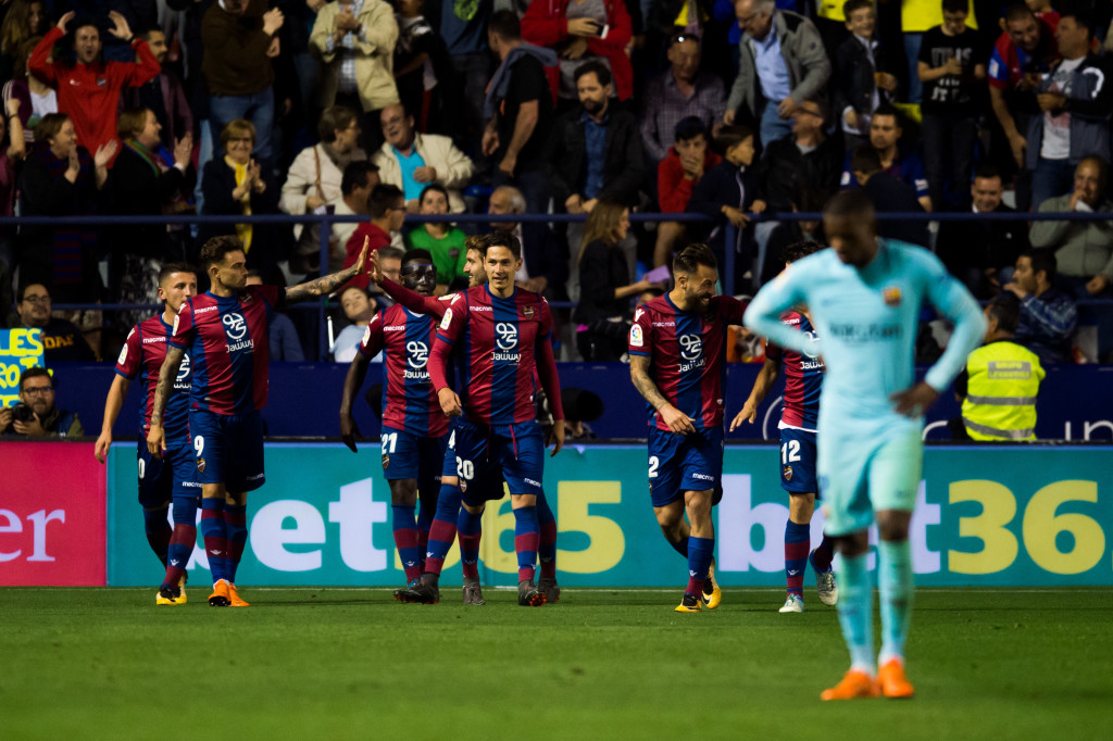VALENCIA, SPAIN - MAY 13: Levante UD players celebrate after scoring a goal during the La Liga match between Levante UD and FC Barcelona at Estadi Ciutat de Valencia on May 13, 2018 in Valencia, Spain. (Photo by Alex Caparros/Getty Images)
