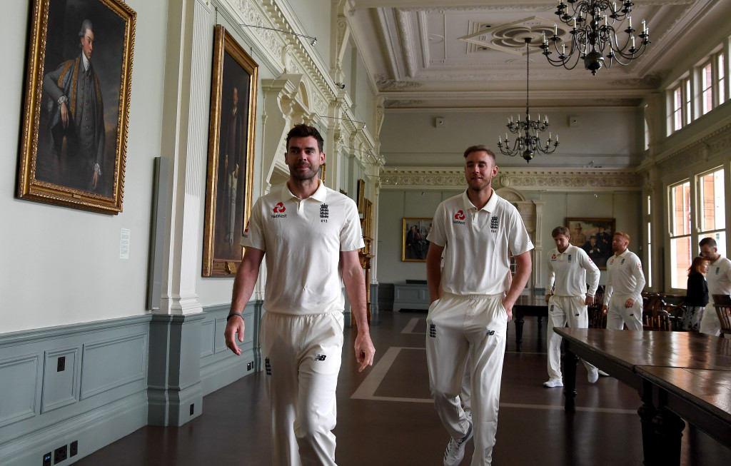 LONDON, ENGLAND - MAY 23: James Anderson and Stuart Broad of England walk through the Long Room at Lord's Cricket Ground on May 23, 2018 in London, England. (Photo by Gareth Copley/Getty Images)