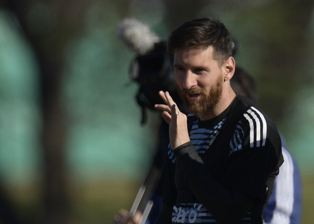 "Argentina's national football team forward Lionel Messi, gestures during a training session in Ezeiza, Buenos Aires on May 25, 2018. - The Argentinian team is training ahead of a friendly match against Haiti to be held on May 29 at ""La Bombonera"" stadium in Buenos Aires, before departing to Barcelona, to prepare for the upcoming FIFA World Cup 2018 in Russia. (Photo by JUAN MABROMATA / AFP) (Photo credit should read JUAN MABROMATA/AFP/Getty Images)"