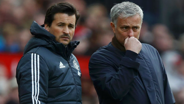 Jose Mourinho, Manager of Manchester United and Rui Faria