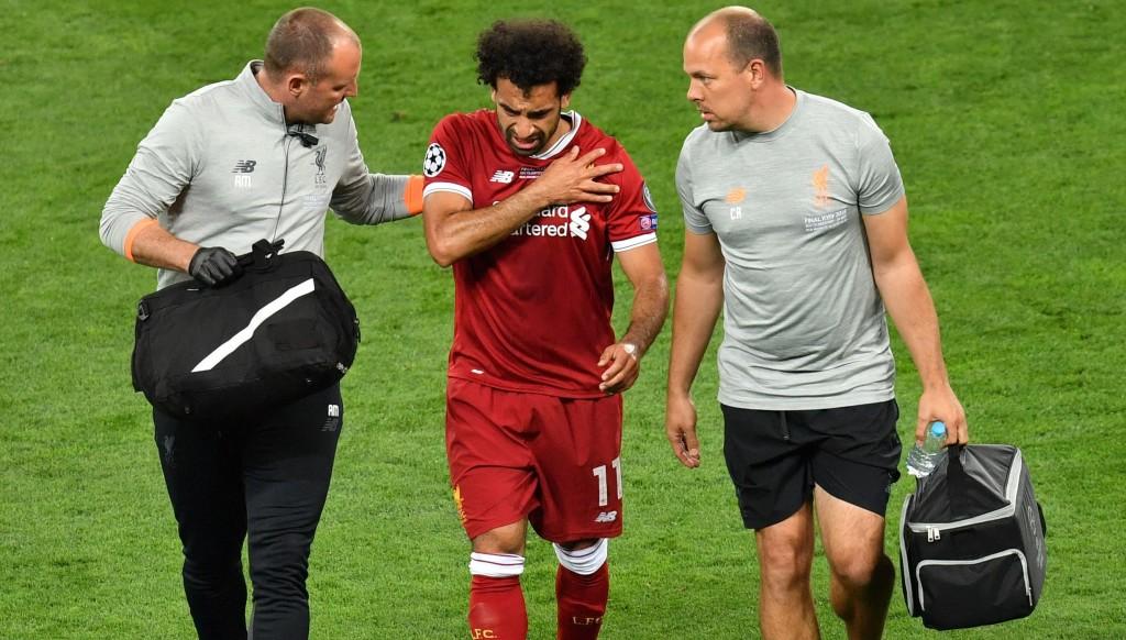 Mohamed Salah leaves the field in tears in Kiev.