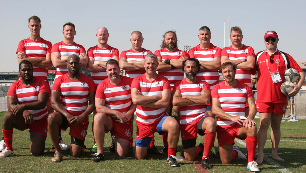 Nick Young (back row, far left) playing for RAK at the Dubai Sevens last year. Photo: © RAK Rugby 2017