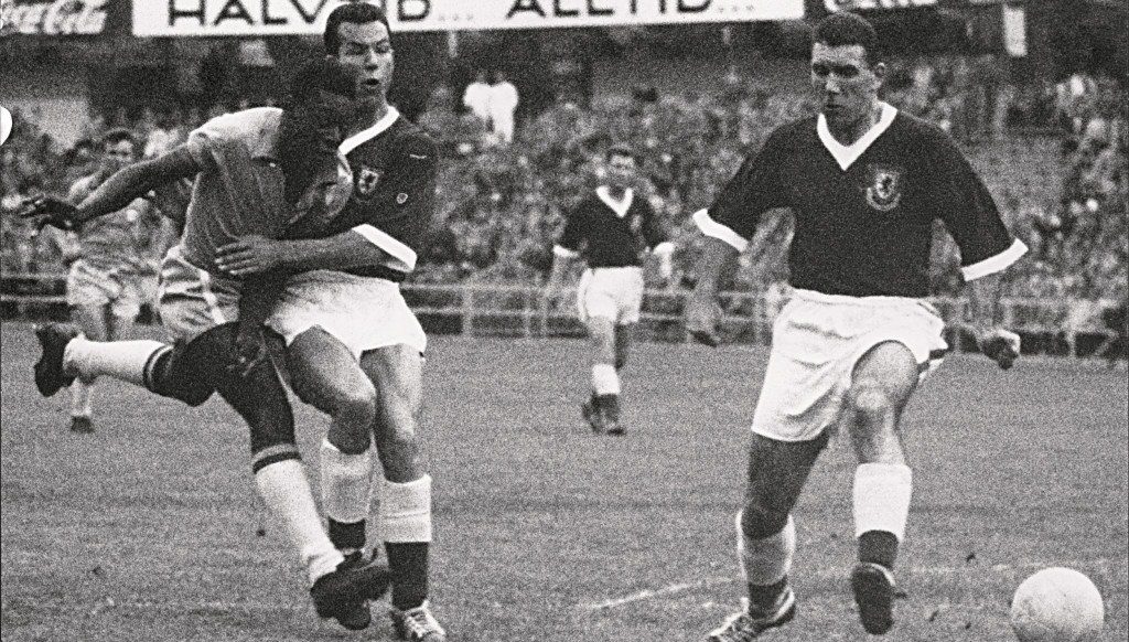 A 17-year-old Pele (l) scored the only goal was Wales were beaten by Brazil in the 1958 quarter-finals.