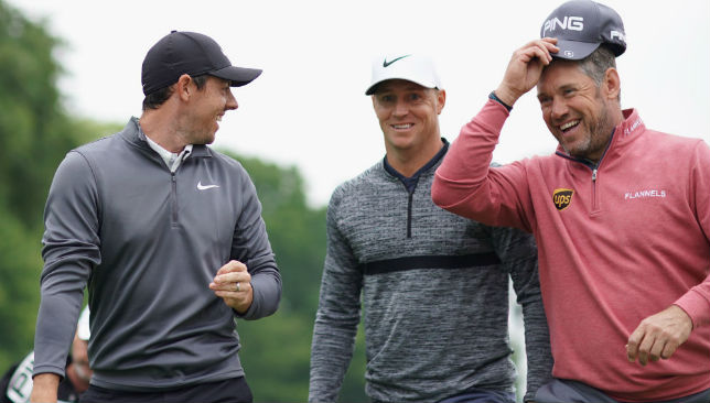 Rory McIlroy of Northern Ireland, Alex Noren of Sweden and Lee Westwood