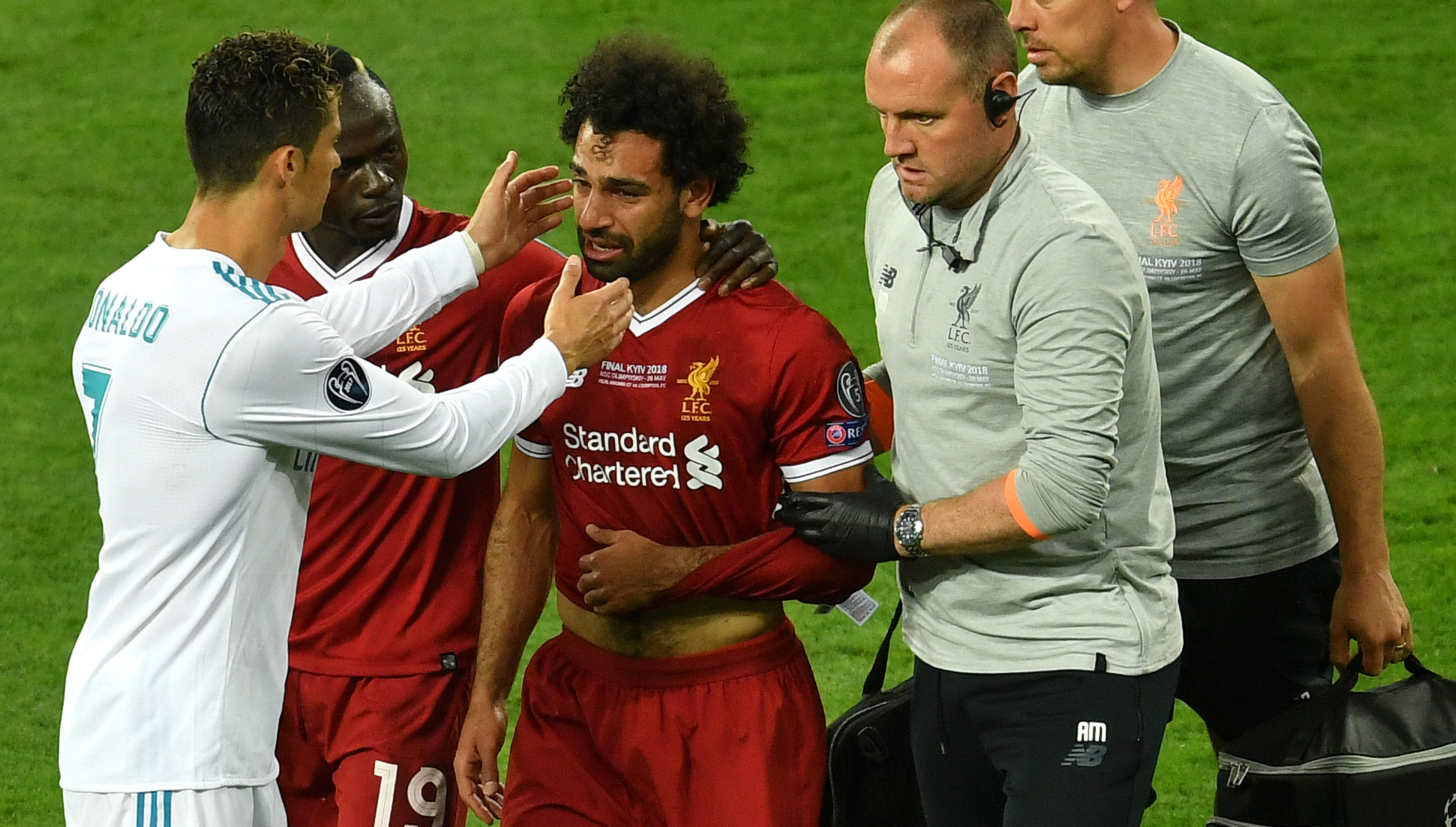 Egypt's Salah goes off injured, teary in Champions League final