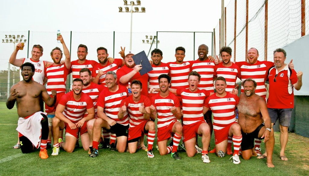 RAK Rugby celebrate winning the plate at the Barrelhouse 10s tournament last month.