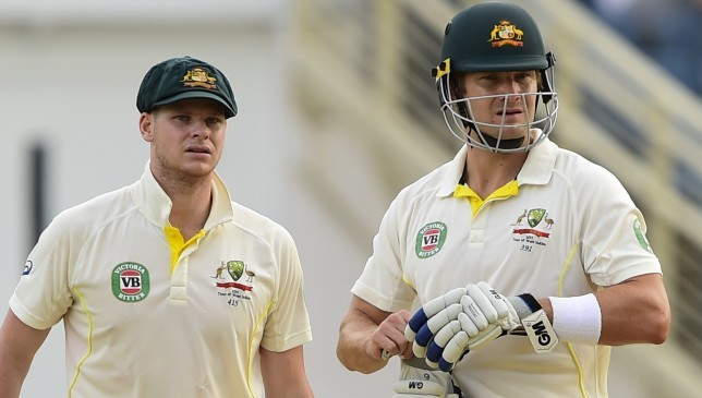 Steve Smith and Shane Watson pictured together playing against the West Indies in 2015.