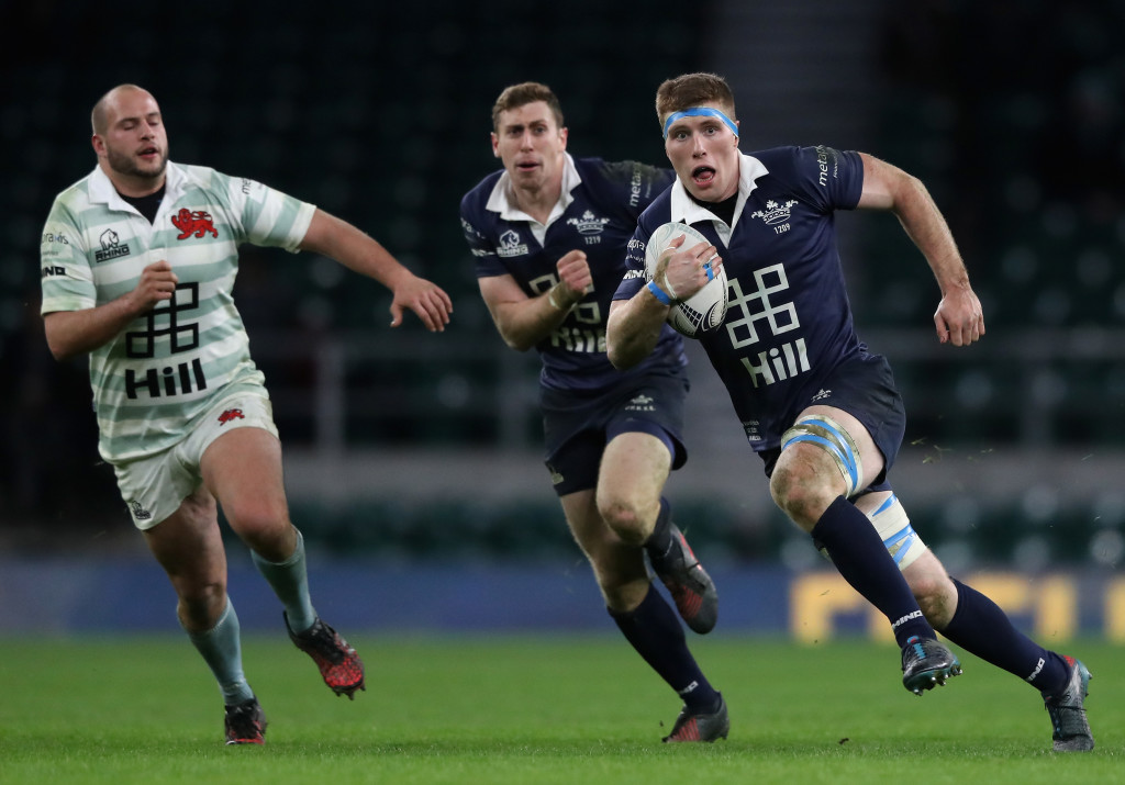 Wilson in action for Oxford University against Cambridge University in the men's Varsity match at Twickenham last December.