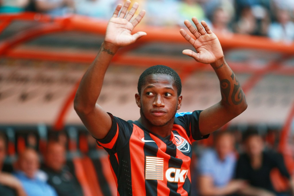 Fred being unveiled at Donetsk in 2013. He was signed as a Fernandinho replacement.