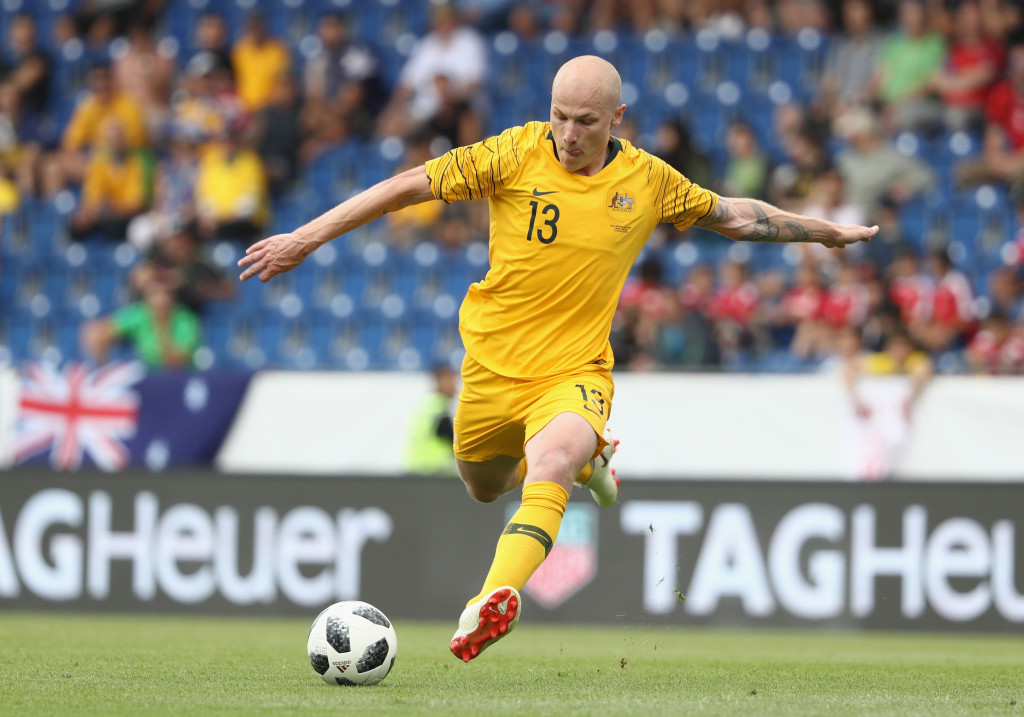 SANKT POLTEN, AUSTRIA - JUNE 01: Aaron Mooy of Australia attempts a shot on goal during the International Friendly match between the Czech Republic and Australia Socceroos at NV Arena on June 1, 2018 in Sankt Polten, Austria. (Photo by Robert Cianflone/Getty Images)
