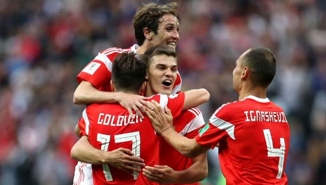 Aleksandr Golovin of Russia celebrates