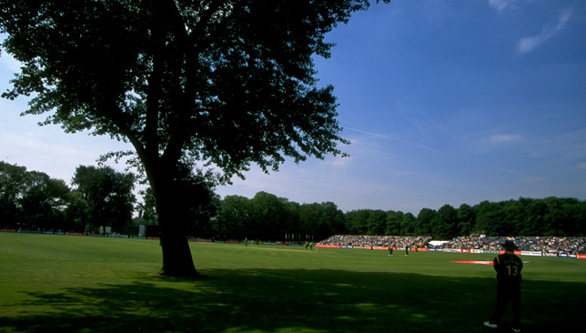 Lance Klusener fields at the VRA Ground in Amstelveen, Holland at the 1999 World Cup.
