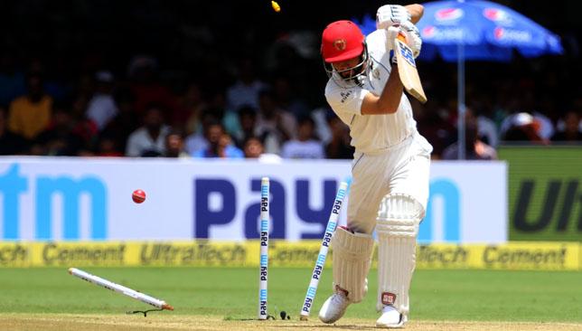 Afsar Zazai is bowled by Ishant Sharma . Image: BCCI.