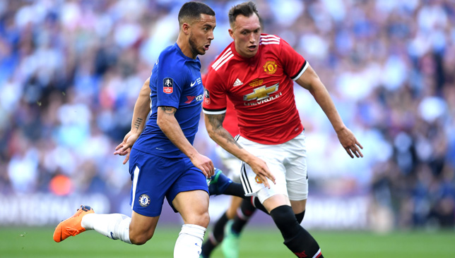 Eden Hazard gave Jones a torrid time at the FA Cup final