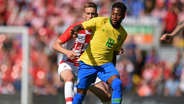 Fred in action at Anfield on Sunday.