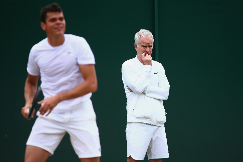 LONDON, ENGLAND - JULY 08:  Joh McEnroe, Milos Raonic of Canada's coach, watches on during Milos Raonic's practice session on day eleven of the Wimbledon Lawn Tennis Championships at the All England Lawn Tennis and Croquet Club on July 8, 2016 in London, England.  (Photo by Jordan Mansfield/Getty Images)