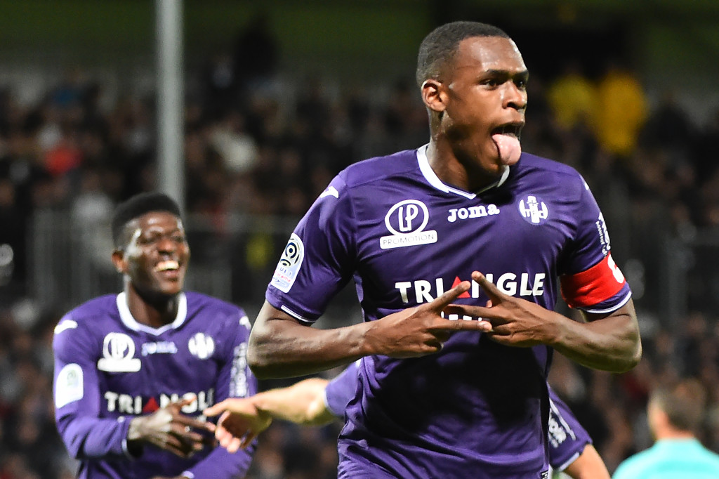 Toulouse's French defender Issa Diop (R) reacts after scoring during  the French L1 football match between Angers (SCO) and Toulouse (TFC), on October 21, 2017, in Raymond-Kopa Stadium, in Angers, northwestern France. / AFP PHOTO / JEAN-FRANCOIS MONIER        (Photo credit should read JEAN-FRANCOIS MONIER/AFP/Getty Images)