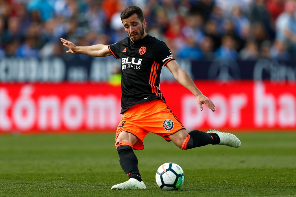 Valencia's Spanish defender Jose Luis Gaya Pena prepares to kick the ball during the Spanish League football match between Leganes and Valencia at the Butarque stadium on April 1, 2018. / AFP PHOTO / BENJAMIN CREMEL (Photo credit should read BENJAMIN CREMEL/AFP/Getty Images)