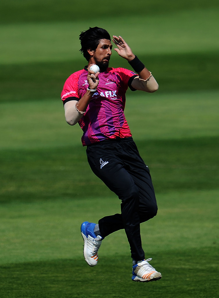 TAUNTON, ENGLAND - MAY 22: Ishant Sharma of Sussex bowls during the Royal London One-Day Cup match between Somerset and Sussex at The Cooper Associates County Ground on May 22, 2018 in Taunton, England. (Photo by Harry Trump/Getty Images)