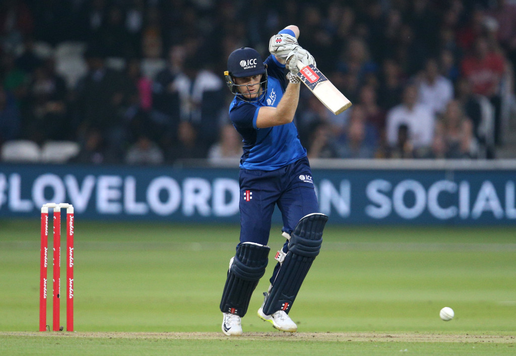 LONDON, ENGLAND - MAY 31: Sam Billings of the ICC World XI bats during the Hurricane Relief T20 match between the ICC World XI and West Indies at Lord's Cricket Ground on May 31, 2018 in London, England. (Photo by James Chance/Getty Images)