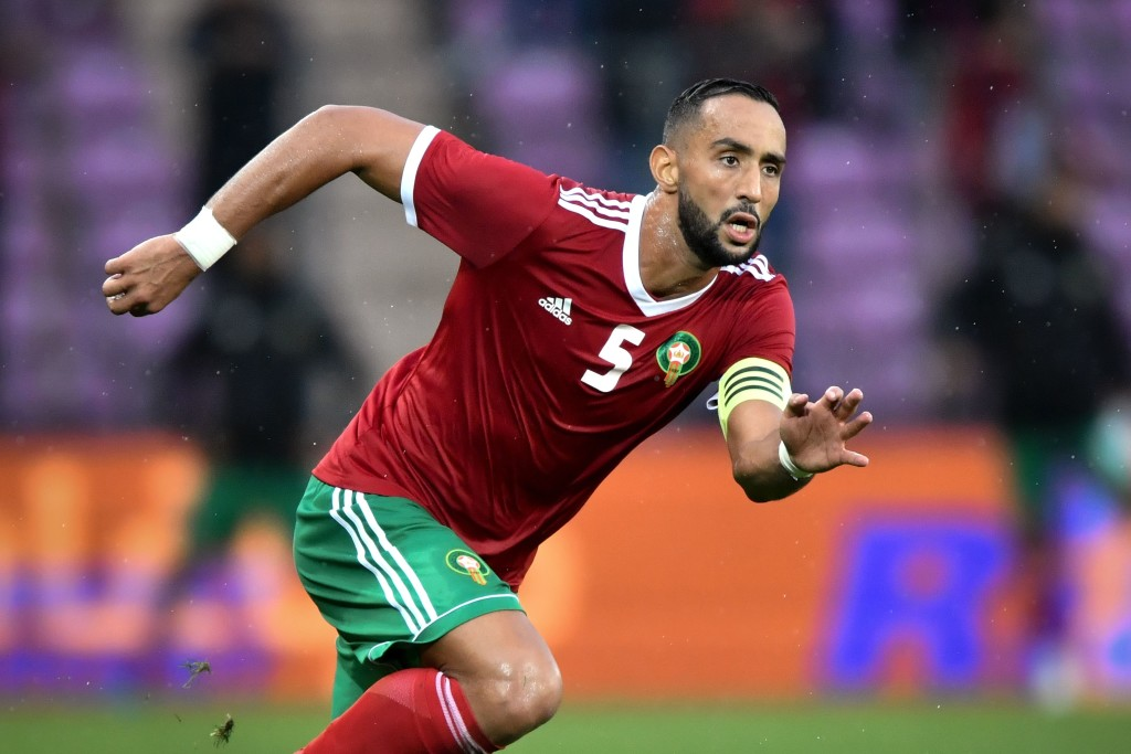 Morocco's defender Medhi Benatia reacts during the friendly football match between Morocco and Ukraine at the Stade de Geneve stadium in Geneva on May 31, 2018. (Photo by Fabrice COFFRINI / AFP) (Photo credit should read FABRICE COFFRINI/AFP/Getty Images)