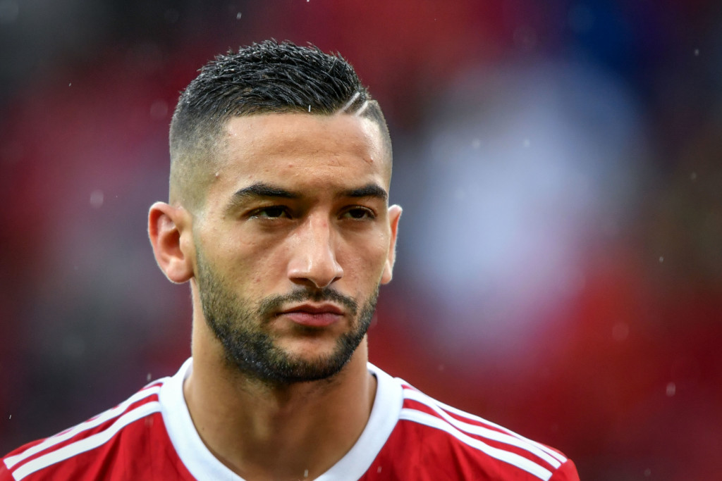 Morocco's midfielder Hakim Ziyech looks on prior to the friendly football match between Morocco and Ukraine at the Stade de Geneve stadium in Geneva on May 31, 2018. (Photo by Fabrice COFFRINI / AFP) (Photo credit should read FABRICE COFFRINI/AFP/Getty Images)