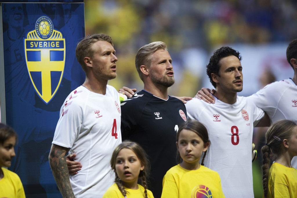 STOCKHOLM, SWEDEN - JUNE 02: Simon Kjaer. Kasper Schmeichel and Thomas Delaney of Denmark ahead of the International Friendly match between Sweden and Denmark at Friends Arena on June 2, 2018 in Solna, Sweden. (Photo by Nils Petter Nilsson/Ombrello/Getty Images)