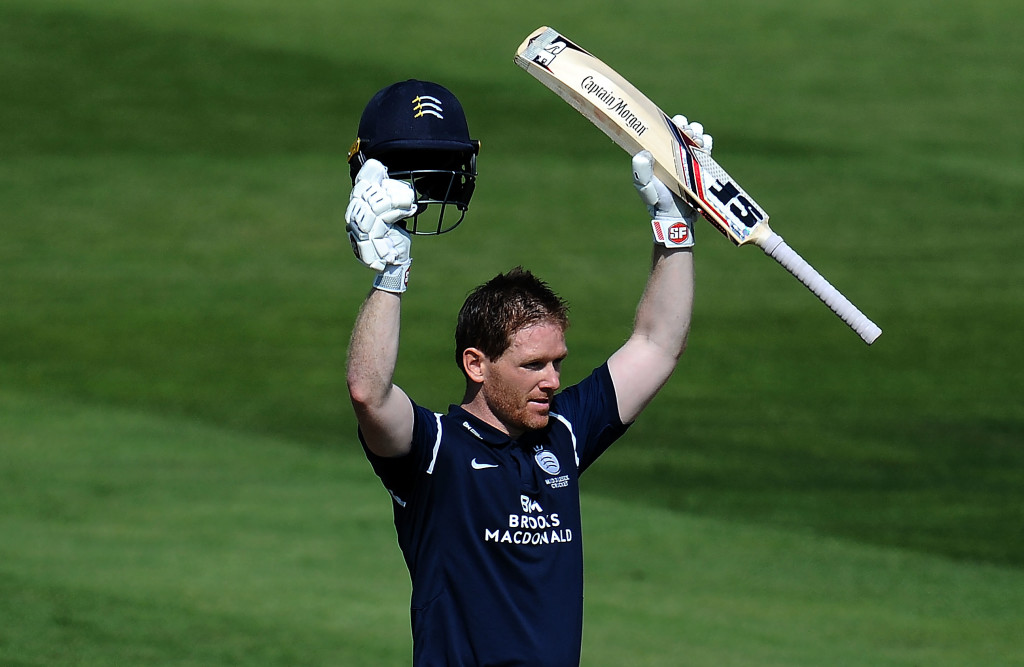 BRISTOL, ENGLAND - JUNE 06: Eoin Morgan of Middlesex celebrates his century during the Royal London One-Day Cup match between Gloucestershire and Middlesex at the Brightside Ground on June 6, 2018 in Bristol, England. (Photo by Harry Trump/Getty Images)