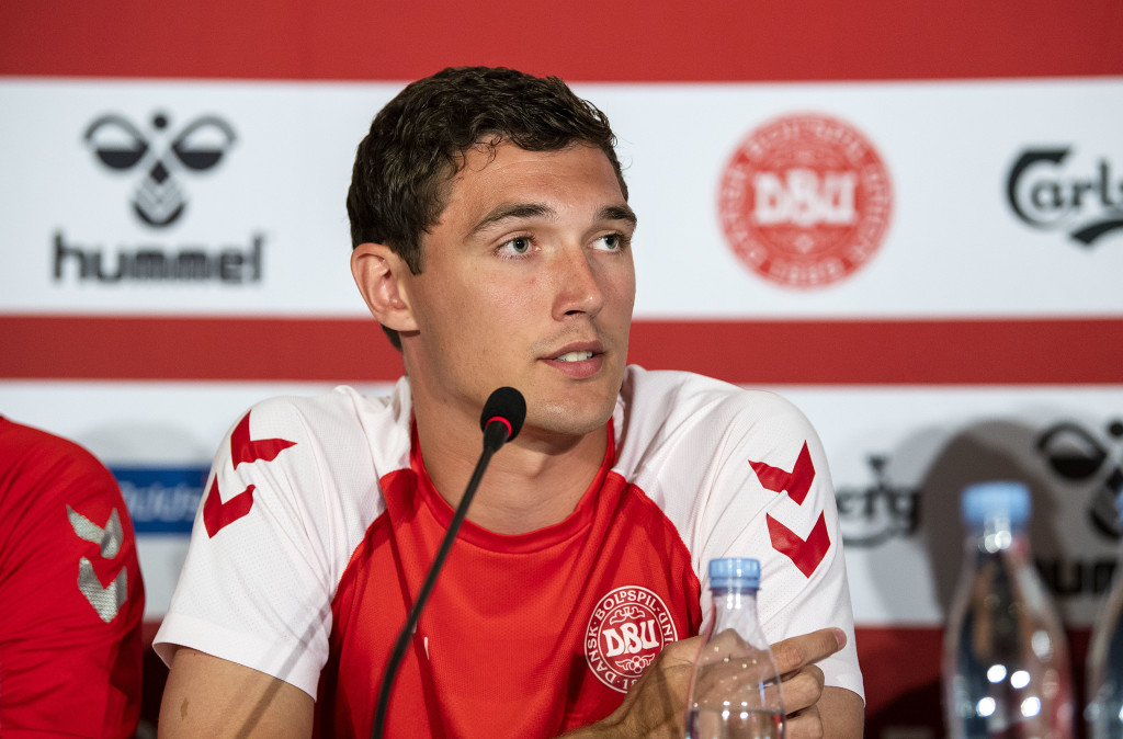 Denmark's defender Andreas Christensen attends a press conference of the Danish national football team at Broendby Stadium in Brondby, Denmark on June 8, 2018, on the eve of the international friendly football match between Denmark and Mexico. (Photo by Anders Kjaerbye / Ritzau Scanpix / AFP) / Denmark OUT (Photo credit should read ANDERS KJAERBYE/AFP/Getty Images)
