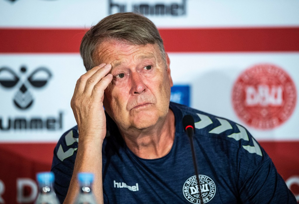 Denmark's Norwegian head coach Age Hareide attends a press conference of the Danish national football team at Broendby Stadium in Brondby, Denmark on June 8, 2018, on the eve of the international friendly football match between Denmark and Mexico. (Photo by Anders Kjaerbye / Ritzau Scanpix / AFP) / Denmark OUT (Photo credit should read ANDERS KJAERBYE/AFP/Getty Images)
