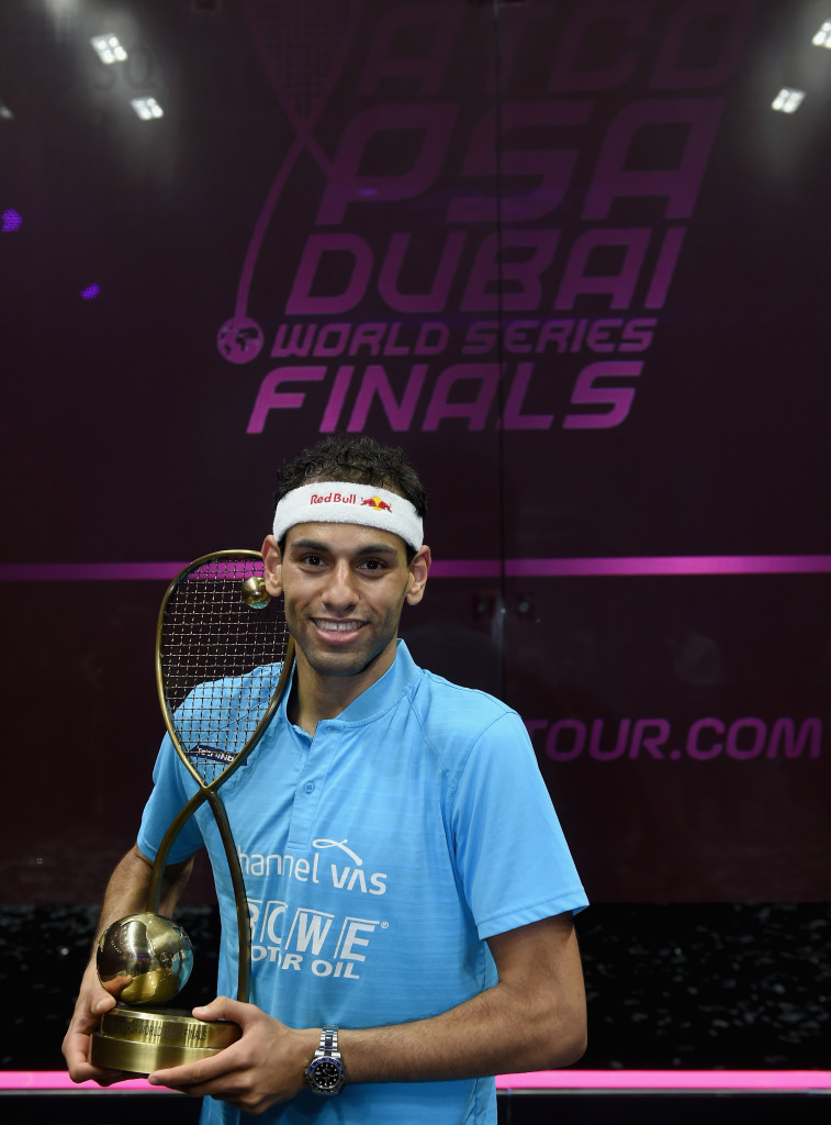 DUBAI, UNITED ARAB EMIRATES - JUNE 09: Mohamed Elshorbagy of Egypt poses with the trophy after winning the men's final match of the PSA Dubai World Series Finals 2018 at Emirates Golf Club on June 9, 2018 in Dubai, United Arab Emirates. (Photo by Tom Dulat/Getty Images)