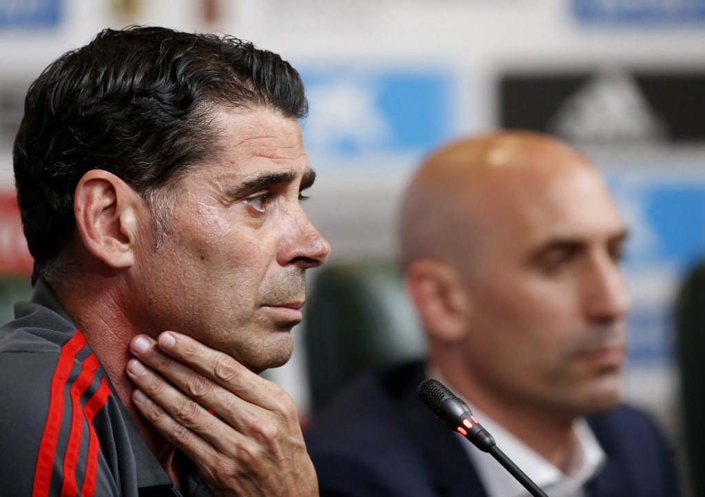 KRASNODAR, RUSSIA - JUNE 13:  Fernando Hierro speaks to the media after he was appointed the new head coach of Spain during the Spain Press Conference ahead of the FIFA World Cup Russia 2018 on June 13, 2018 in Krasnodar, Russia.  (Photo by Getty Images/Getty Images)