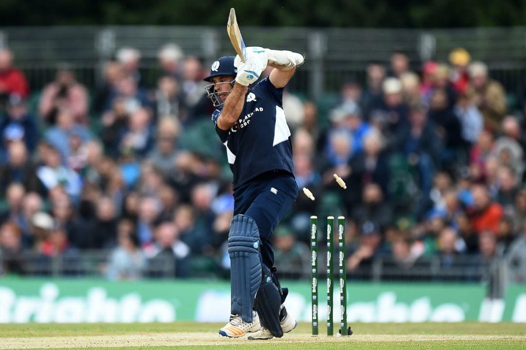 Coetzer is clean bowled by Usman Khan.