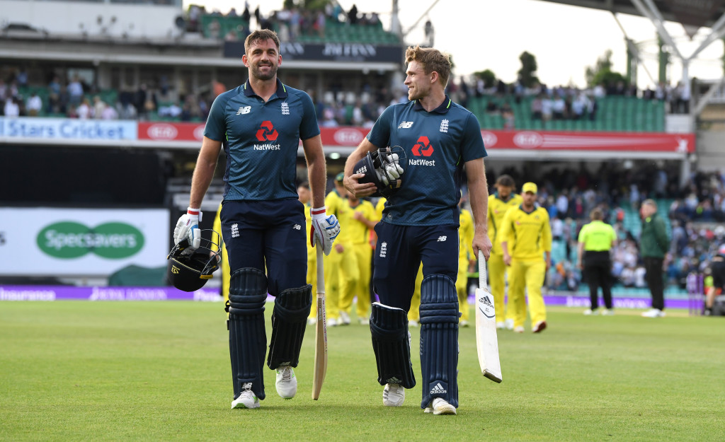 LONDON, ENGLAND - JUNE 13: David Willey and Liam Plunkett of England celebrate winning the 1st Royal London ODI match between England and Australia at The Kia Oval on June 13, 2018 in London, England. (Photo by Gareth Copley/Getty Images)