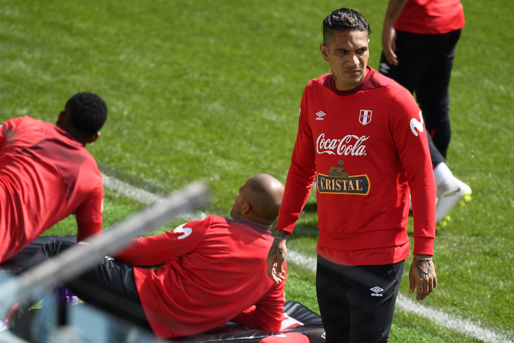 Paolo Guerrero of Peru looks on during a training session at Arena Khimki.
