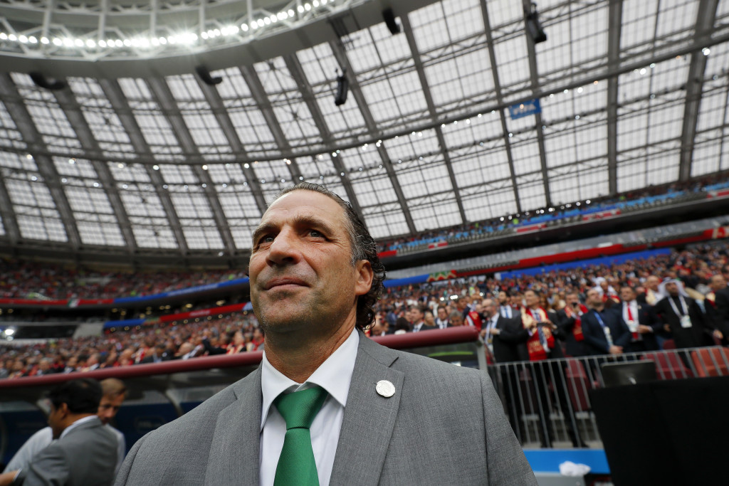 Juan Antonio Pizzi looks on before the game.
