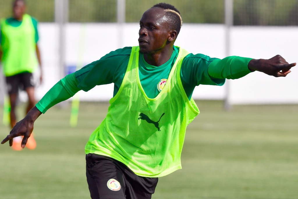 Senegal's forward Sadio Mane gestures as he takes part in a training session of Senegal's national football team on June 14, 2018 in Kaluga during the Russia 2018 World Cup football tournament. (Photo by ISSOUF SANOGO / AFP) (Photo credit should read ISSOUF SANOGO/AFP/Getty Images)