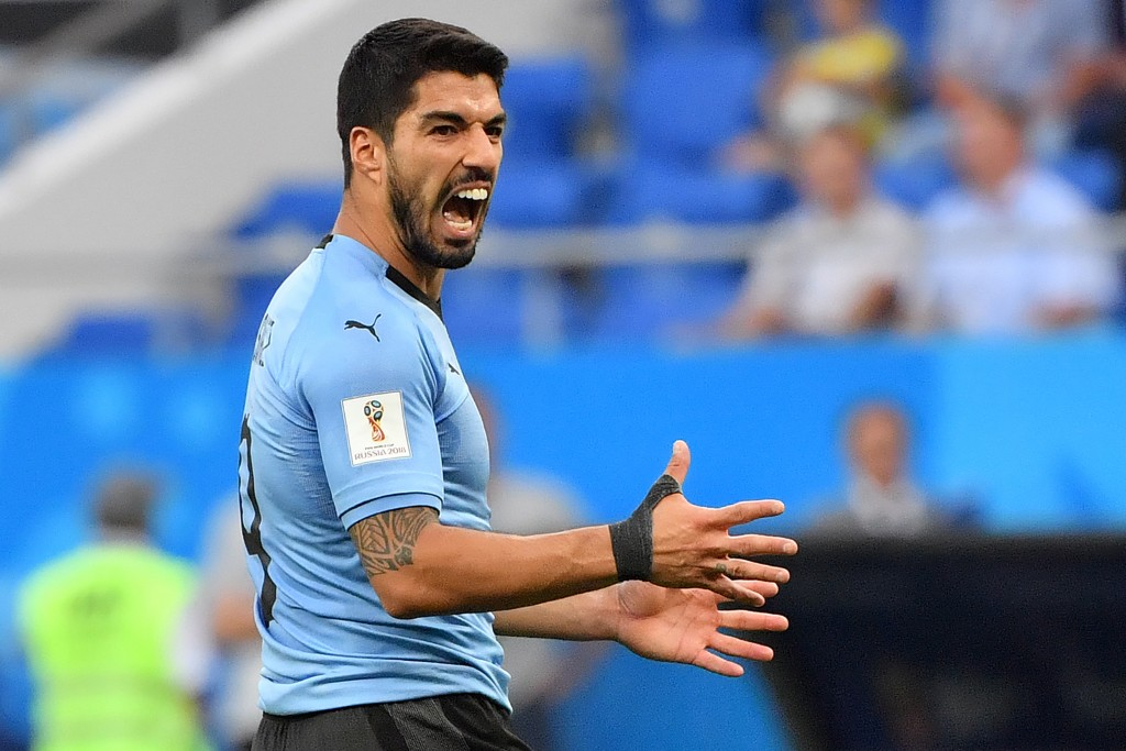TOPSHOT - Uruguay's forward Luis Suarez shouts during the Russia 2018 World Cup Group A football match between Uruguay and Saudi Arabia at the Rostov Arena in Rostov-On-Don on June 20, 2018. (Photo by Pascal GUYOT / AFP) / RESTRICTED TO EDITORIAL USE - NO MOBILE PUSH ALERTS/DOWNLOADS (Photo credit should read PASCAL GUYOT/AFP/Getty Images)