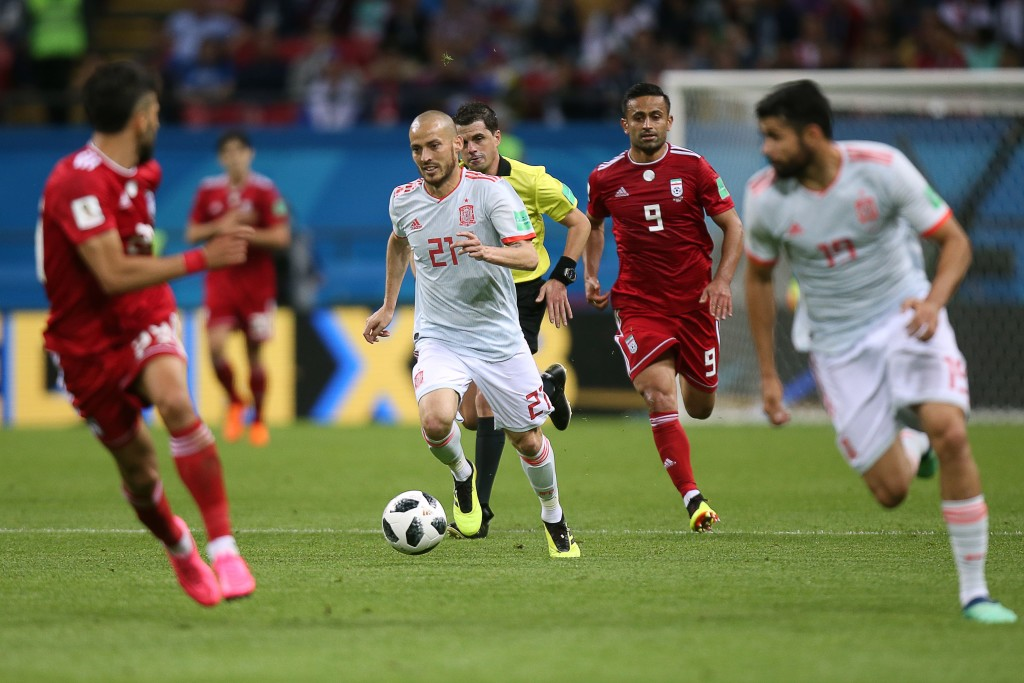 Spain's forward David Silva controls the ball during the Russia 2018 World Cup Group B football match between Iran and Spain at the Kazan Arena in Kazan on June 20, 2018. (Photo by Roman Kruchinin / AFP) / RESTRICTED TO EDITORIAL USE - NO MOBILE PUSH ALERTS/DOWNLOADS (Photo credit should read ROMAN KRUCHININ/AFP/Getty Images)