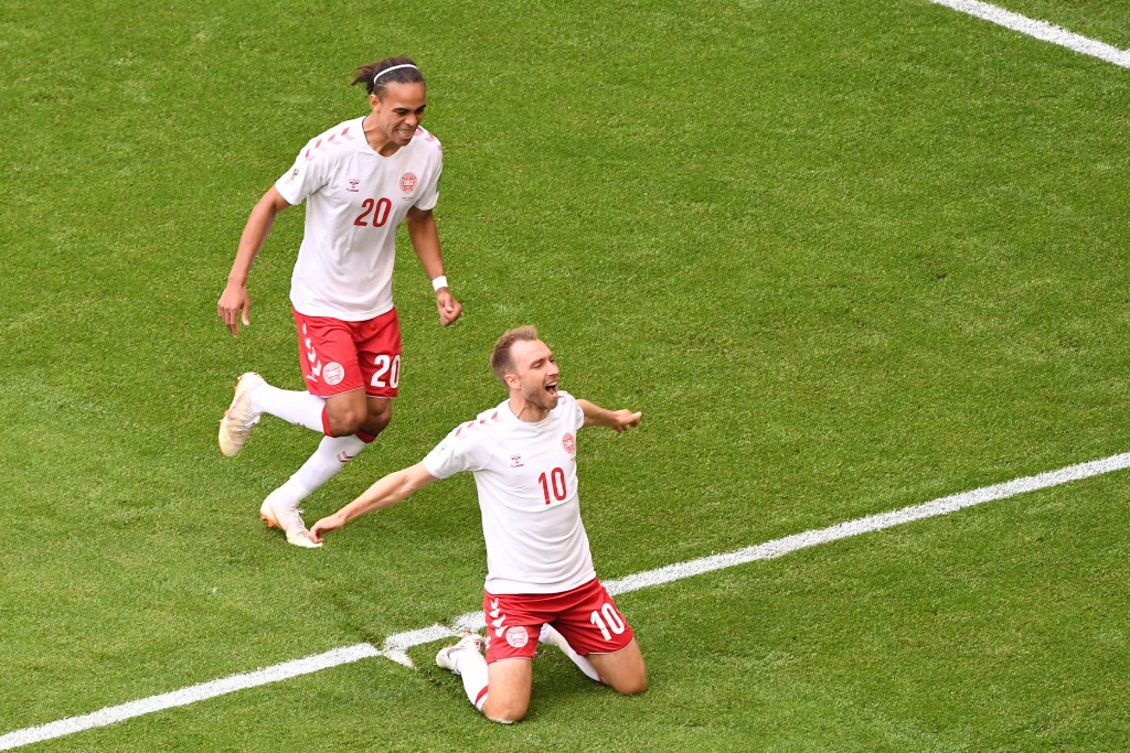 Denmark's midfielder Christian Eriksen (R) celebrates after socring the opening goal during the Russia 2018 World Cup Group C football match between Denmark and Australia at the Samara Arena in Samara on June 21, 2018. (Photo by EMMANUEL DUNAND / AFP) / RESTRICTED TO EDITORIAL USE - NO MOBILE PUSH ALERTS/DOWNLOADS (Photo credit should read EMMANUEL DUNAND/AFP/Getty Images)