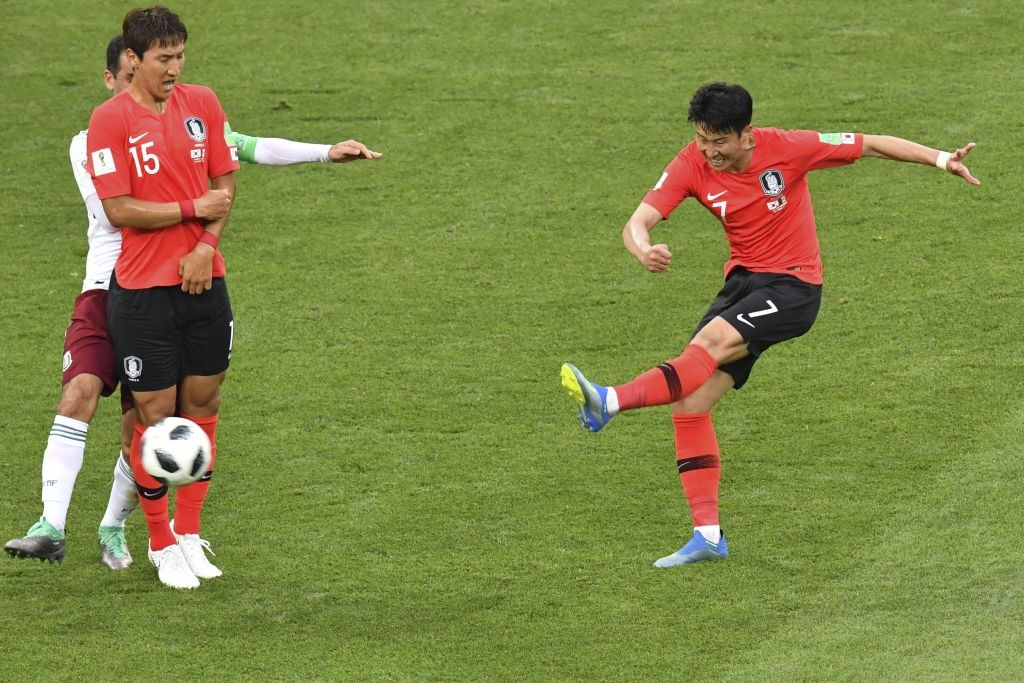 Son Heung-min (R) scored a superb goal at the death.