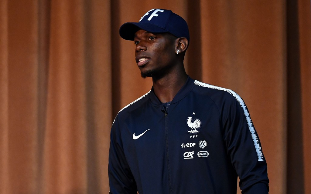 France's midfielder Paul Pogba attends a press conference in Istra, west of Moscow on June 24, 2018, during the Russia 2018 World Cup football tournament. - Denmark will play France in their Russia 2018 World Cup Group C football match at the Luzhniki Stadium in Moscow on June 26, 2018. (Photo by FRANCK FIFE / AFP) (Photo credit should read FRANCK FIFE/AFP/Getty Images)