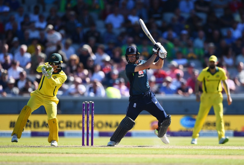 MANCHESTER, ENGLAND - JUNE 24: Jos Buttler of England batting during the 5th Royal London ODI match between England and Australia at Emirates Old Trafford on June 24, 2018 in Manchester, England. (Photo by Nathan Stirk/Getty Images)