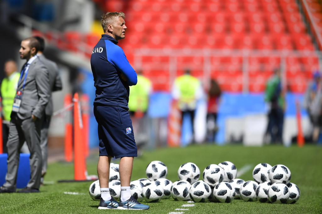 MOSCOW, RUSSIA - JUNE 15: Heimir Hallgrimsson, coach of Iceland, looks on during a training session of Iceland at Spartak Stadium on June 15, 2018 in Moscow, Russia. (Photo by Hector Vivas/Getty Images)