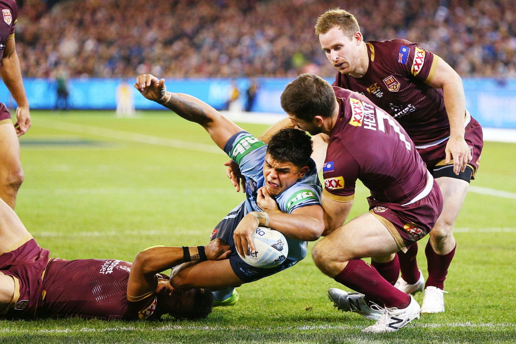 Latrell Mitchell scores for NSW.