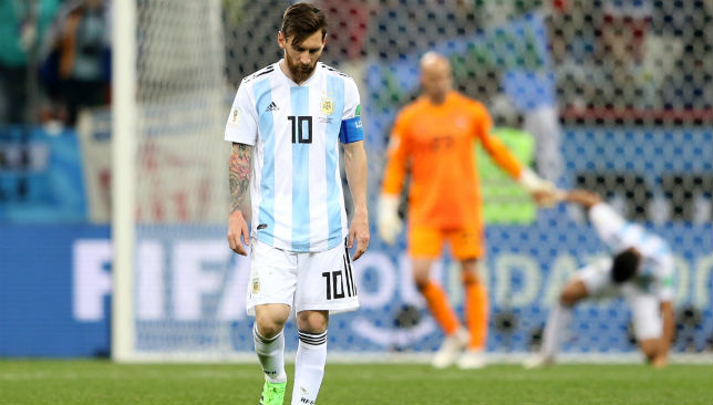 Lionel Messi of Argentina looks dejected
