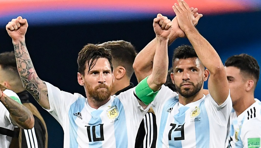Lionel Messi and Sergio Aguero after win over Nigeria