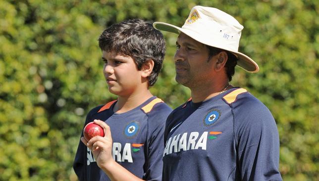 Arjun Tendulkar with his father Sachin.