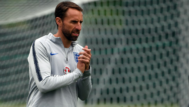 Southgate leads a training session