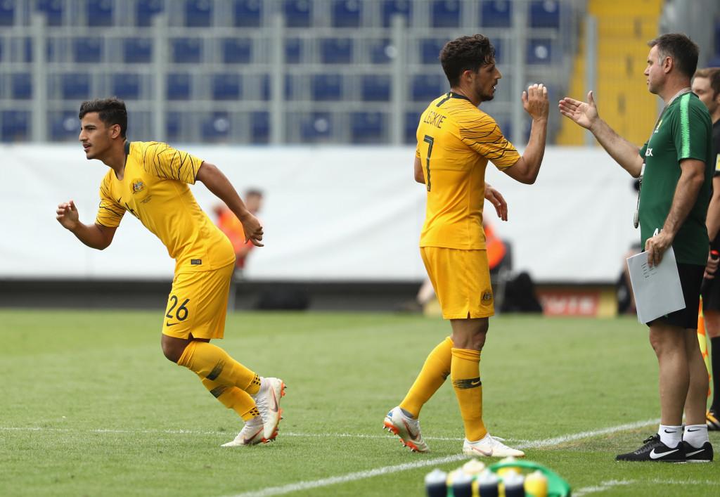 Daniel Arzani runs on to make his international debut against the Czech Republic.
